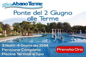 <b>3 Notti - Terme Cogli l'Attimo</b> Per coccolarsi e ritemprarsi pensione completa piscine Spa Elisir<b> € 316</b>